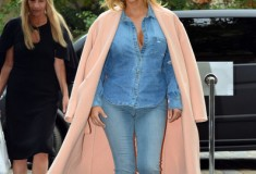 Kim Kardashian in a pink Celine coat