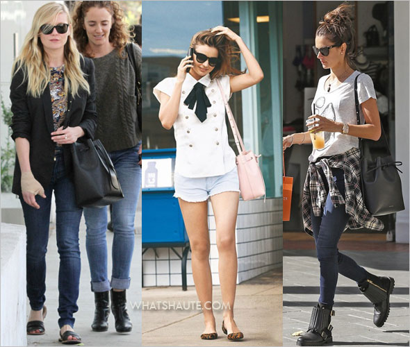 Kirsten Dunst, Miranda Kerr and Alessandra Ambrosio with the Bag of the Moment: a Mansur Gavriel Bucket bag