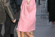 Kourtney Kardashian in a pastel pink coat