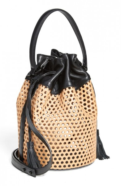 Loeffler Randall Industry Handheld Openwork Leather Bucket Bag