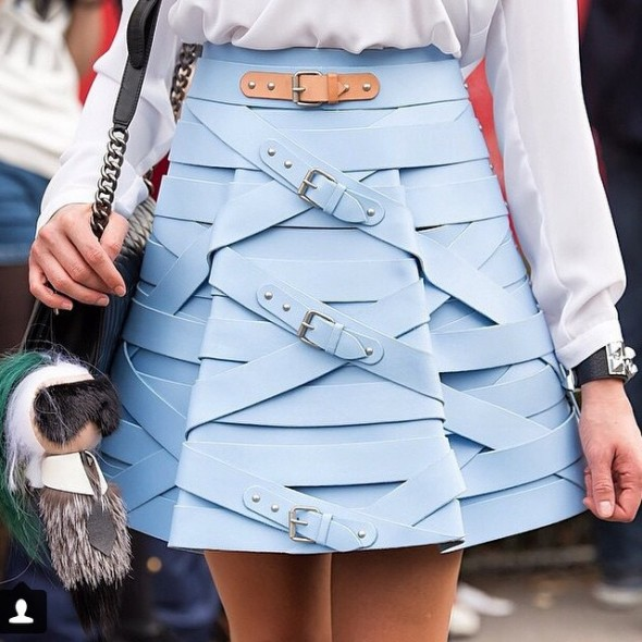 Marina Hoermanseder belted blue buckle skirt