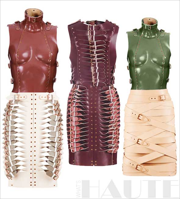 Haute Designer Find: Marina Hoermanseder Collection - leather body suit, twisted skirt, twisted dress, buckle skirt