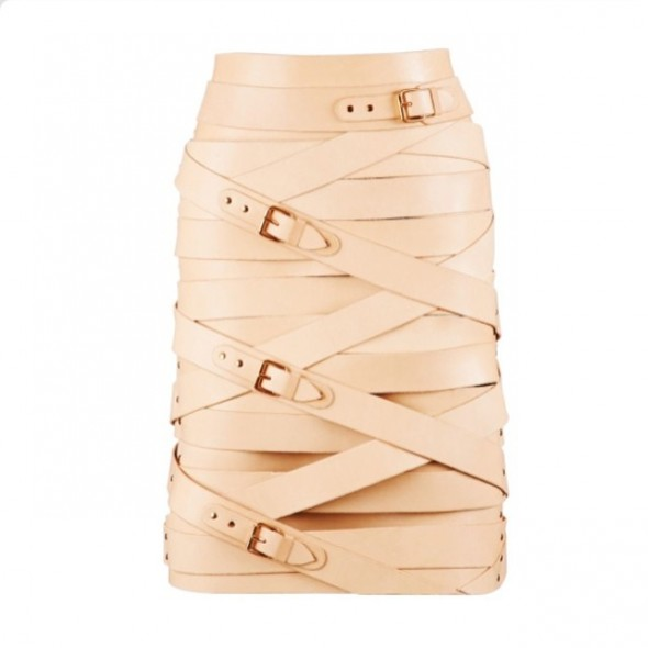 Marina Hoermanseder tan belt leather skirt