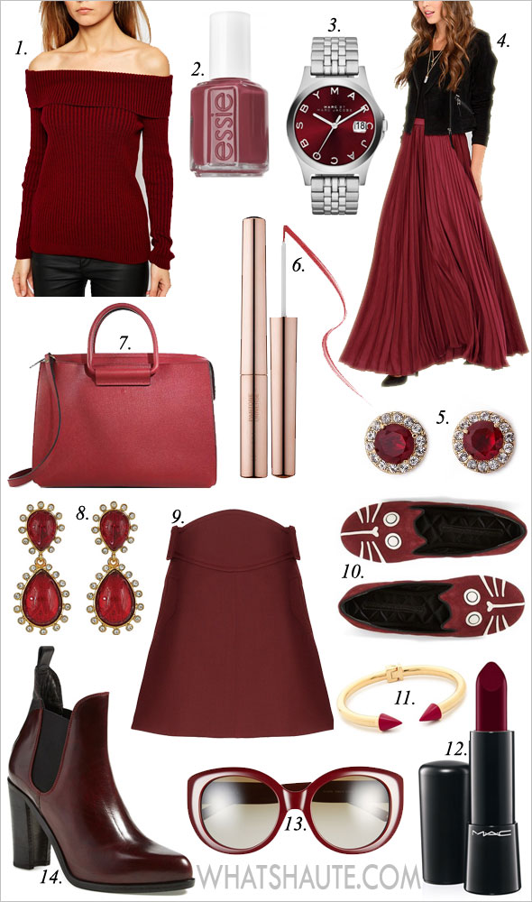 14 Ways to Wear Marsala - the Color of the Year - fashion, beauty, shoes and jewelry