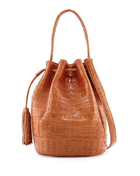Nancy Gonzalez Medium Crocodile Tassel Bucket Bag, Cognac