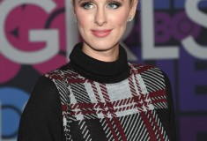 Nicky Hilton in Nasty Gal Plaid Student Turtleneck Sweater Dress and Stuart Weitzman Highland boots at the Girls premiere