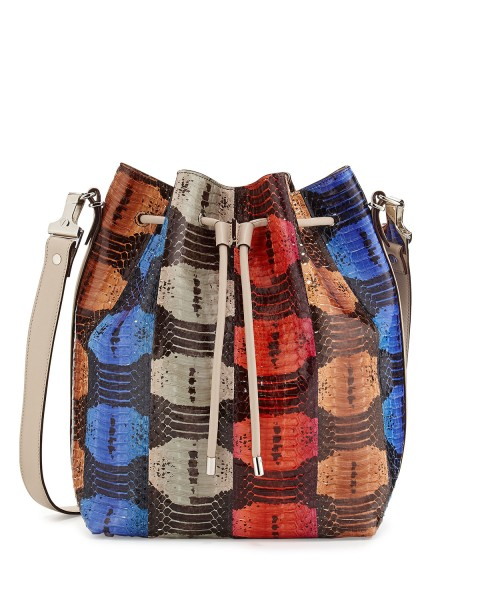 Proenza Schouler Striped Snakeskin Large Bucket Bag
