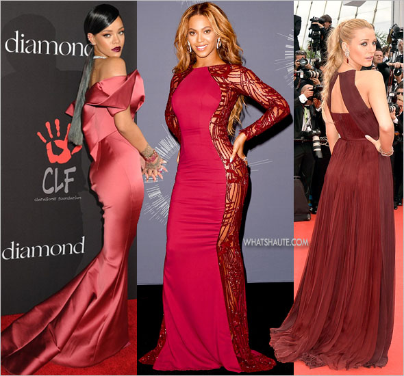 Rihanna, Beyonce and Blake Lively wearing Marsala colored gowns on the red carpet