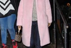 Rihanna pink pastel Rochas boiled wool coat