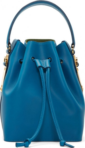Sophie Hulme Teal Blue Saddle Leather Small Bucket Bag
