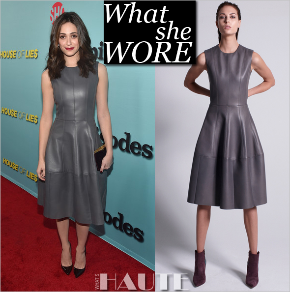 What She Wore: Emmy Rossum in a grey leather J. Mendel dress