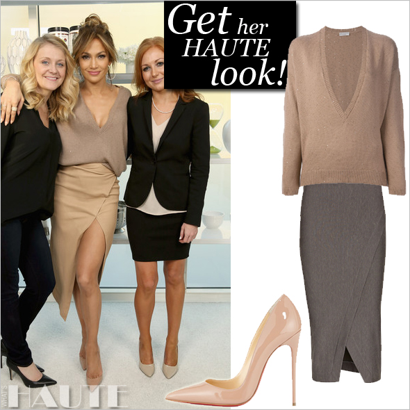 Get her haute look: Jennifer Lopez is Haute in All Nude Everything: in Enza Costa, Bruno Cuccinelli and Christian Louboutin So Kate pumps