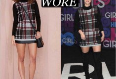 What She Wore: Nicky Hilton in Nasty Gal Plaid Student Turtleneck Sweater Dress & Stuart Weitzman Highland Suede Over-The-Knee Boots