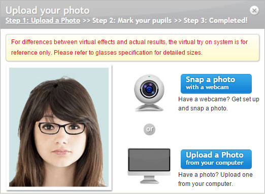 Firmoo - upload photo / virtual try-on