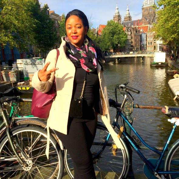 Wearing an H&M pea coat and Sole Society infinity scarf in Amsterdam
