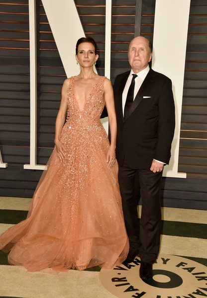 Luciana Pedraza in Jad Gandor and Robert Duvall attend the 2015 Vanity Fair Oscar Party