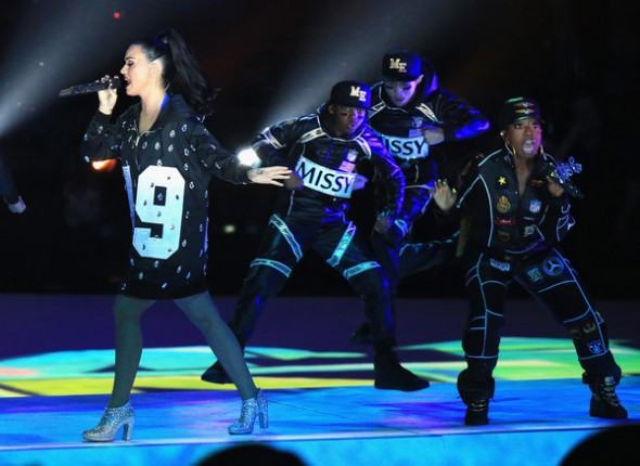 Missy Elliott and Katy Perry perform at the Pepsi Super Bowl XLIX Halftime Show