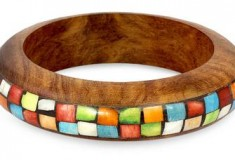 Mumbai Mosaic Wood with Bone Inlay Indian Bangle Bracelet