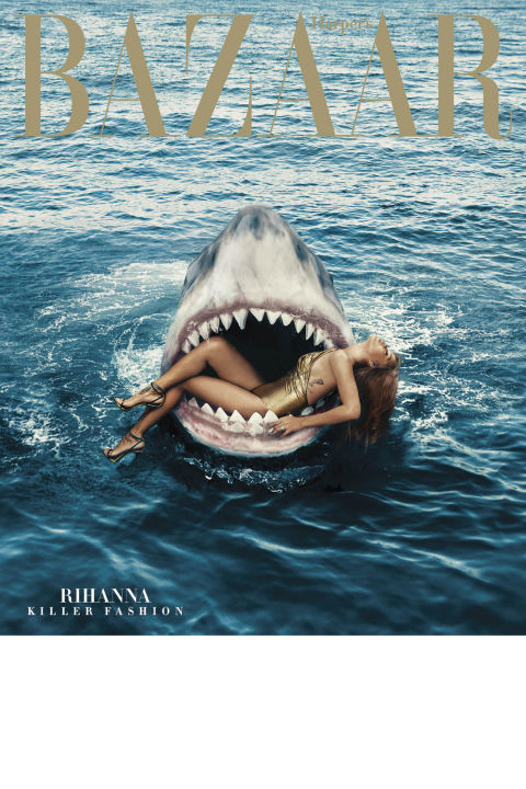 Rihanna Swims with Sharks for Harper's Bazaar cover and editorial