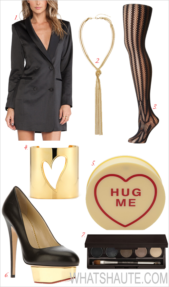 3 Different Valentine's Day Date Night Outfits: Laura Mercier Smoky Suede Eye Colour Palette, Charlotte Olympia Arm Candy clutch, Charlotte Olympia Dolly platform pump, Wolford Trocadero Tights, Knot for You Snake Chain Necklace, Line & Dot Angelina Tuxedo Dress, So Excessive Gold Open Heart Cuff