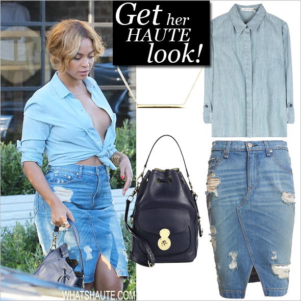 Get her haute look: Beyonce Goes Braless in Blue Chambray and Shredded Denim