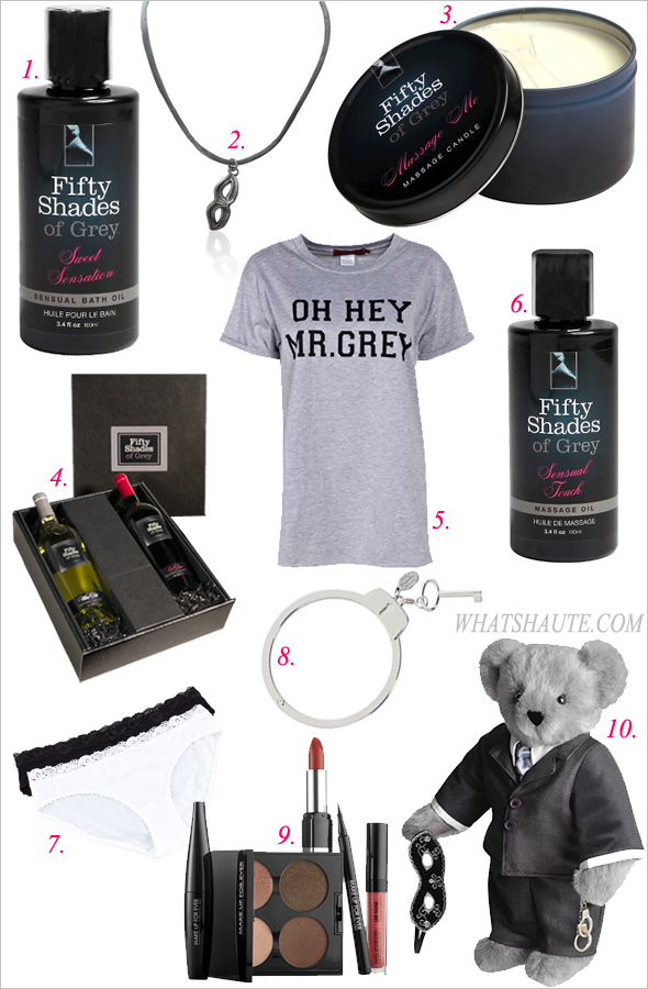 10 Pieces of Fifty Shades of Grey Merch to Get you in the Mood for the Movie: Fifty Shades of Grey Sensual Sweet Sensation Bath Oil, Mask Charm Necklace, Fifty Shades of Grey Massage Me Massage Candle, The Ultimate Fifty Shades of Grey Wine Gift Set, Summer Oh Hey Mr. Grey Slogan Tee, Fifty Shades of Grey Sensual Touch Massage Oil, Hanro Valerie Bikini Briefs, Fifty Shades Of Grey Handcuff Bracelet, Make Up For Ever Give In To Me Makeup Kit: Inspired by the movie Fifty Shades of Grey, Fifty Shades of Grey® Bear