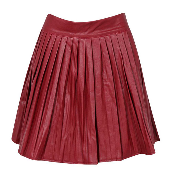 Boohoo Charlie PU Pleated Mini Skater Skirt