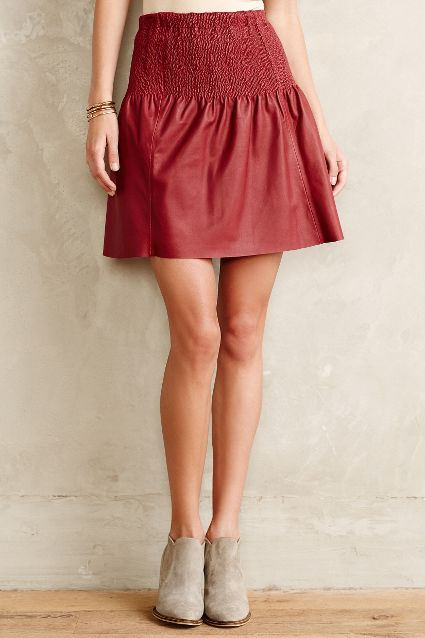 Leifsdottir Stitched Leather Skater Skirt