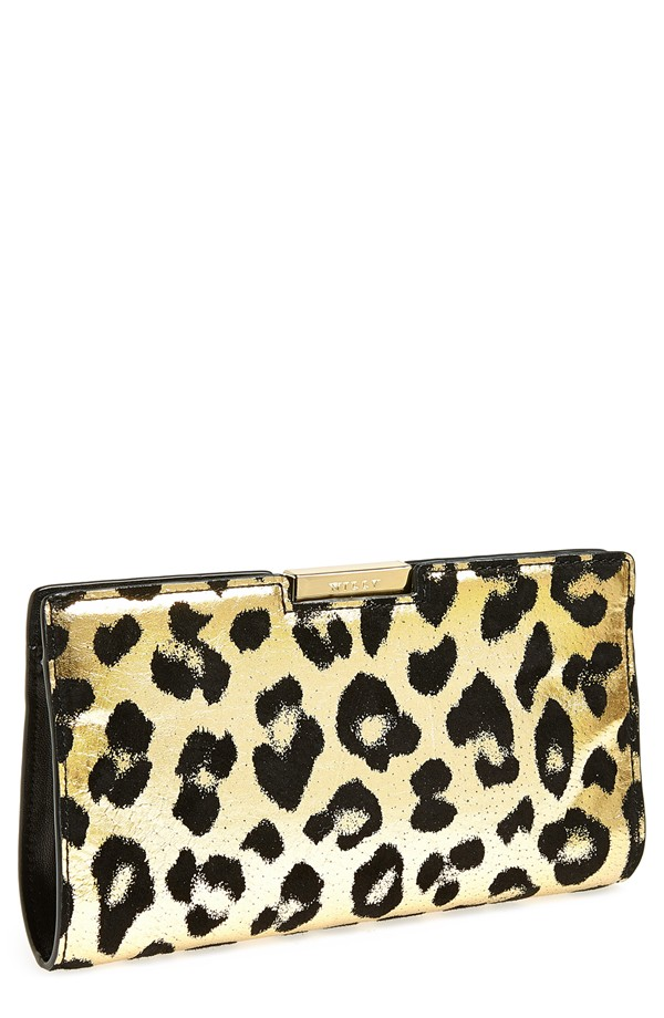 Milly Gold Leopard Small Frame Clutch