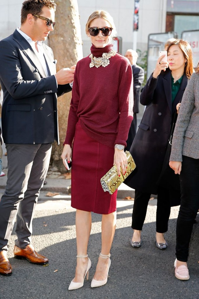 Olivia Palermo oxblood fashion