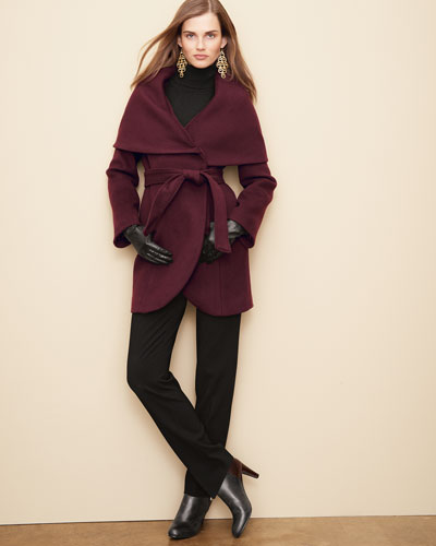 Tahari Marla Shawl-Collar Wrap Coat