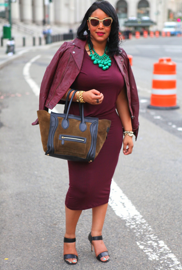 How to wear monochromatic colors: Oxblood fashion - H&M Draped Dress, ASOS Oxblood Leather Biker Jacket, Céline Suede and Leather Luggage Tote, Corso Como Delilah Sandals, Anna Dello Russo for H&M Snake Sunglasses, BaubleBar green bauble bib necklace