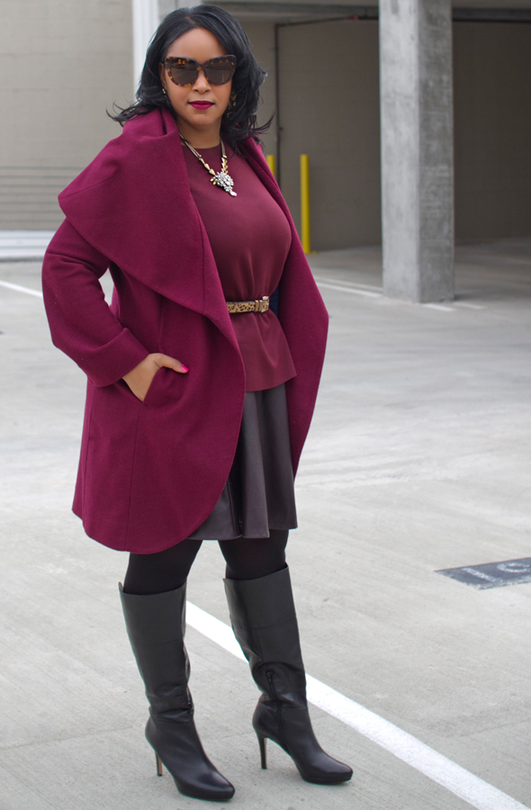 How to wear monochromatic colors: burgundy, aubergine, wine, oxblood - T Tahari Marla Wrap Coat, H&M peplum top, faux leather skater skirt, leopard print belt