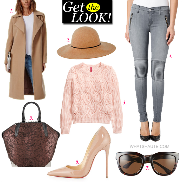How to Wear Spring Neutrals - Get the look: Camel Floppy Hat, Camel Coat, Kensie Denim Jacket, pastel pink H&M Knit Sweater, Hudson Stark Moto Jeans, Nude Christian Louboutin So Kate Patent Red Sole Pumps, Isaac Mizrahi New York 50mm Sunglasses, Alexander Wang merlot Emile Prisma coated calf-hair tote