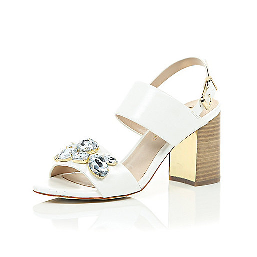 River Island White jewel embellished mid heel sandals