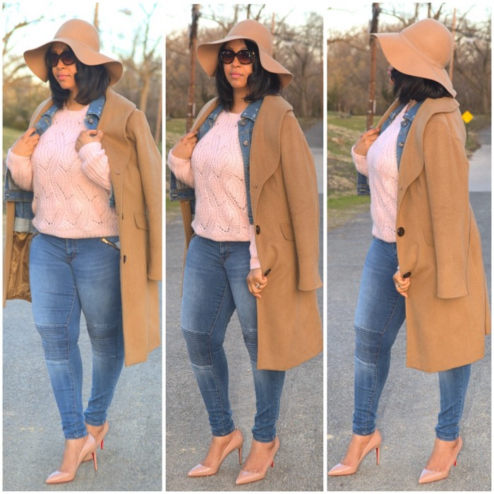 How to Wear Spring Neutrals - What I'm Wearing: Camel Floppy Hat, Camel Coat, Kensie Denim Jacket, Pink H&M Knit Sweater, Mossimo Moto Jeans, Nude Christian Louboutin Pigalle 85 Pumps, Pour la Victoire Bordeaux Calf Hair Tote, Isaac Mizrahi New York 50mm Sunglasses