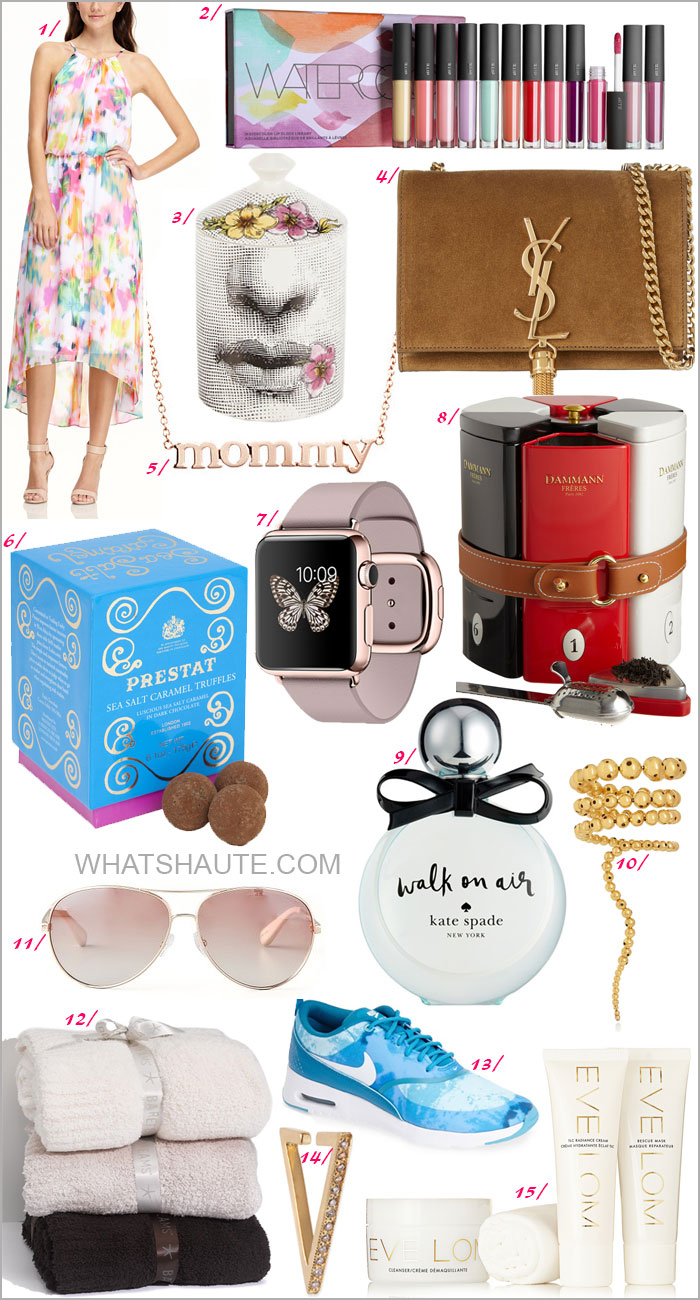"15 Perfect Mother's Day Gifts for EVERY Mom in Your Life: Maggy London London Times Hi Lo Blouson Dress, Bite Beauty Watercolor Lip Gloss Library, Saint Laurent Monogramme small suede shoulder bag, Fornasetti ""Fior Di Bacio"" Scented Candle, Jennifer Meyer ""Mommy"" Pendant Necklace, PRESTAT Dark Sea Salt Caramel Truffles, Apple Watch 38mm 18-Karat Rose Gold Case with Rose Gray Modern Buckle, Dammann Tea Gourmet Tea Sampler and Infuser, kate spade new york 'walk on air' eau de parfum, Paula Mendoza Nereus gold-plated bracelet, Marc by Marc Jacobs Aviator Sunglasses, Barefoot Dreams® Cozy Chic Throw, Zoe Chicco Pave Diamond Triangle Ear Cuff, Eve Lom Luxury Collection 2014"