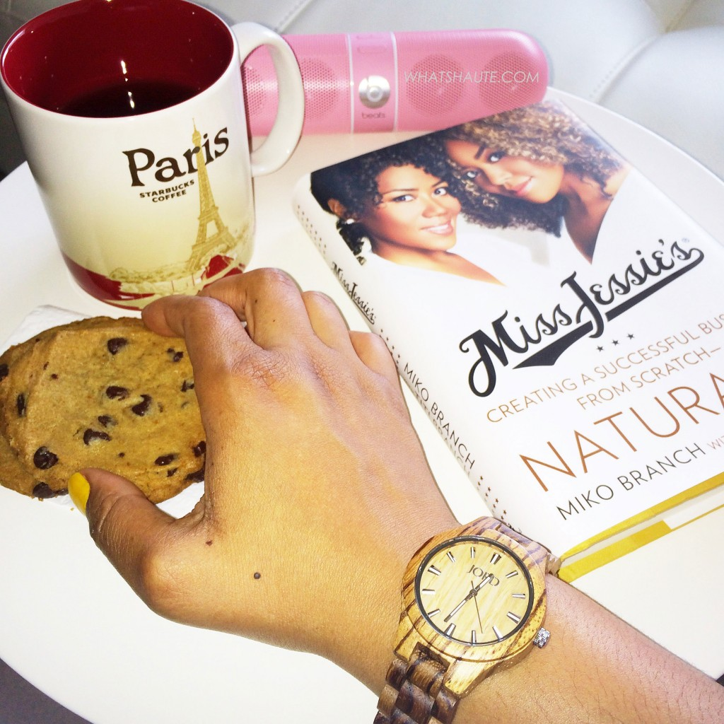 JORDWatch Fieldcrest series watch in Zebrawood & Maple, Miss Jessie's: Creating a Successful Business from Scratch - Naturally, Starbucks Paris mug, Beats Pill, Chocolate chip cookie