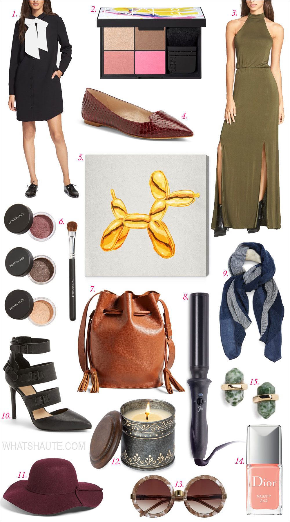 15 Must-Have Items From the Nordstrom Anniversary Sale: BP. Plaid Scarf, Leith Floppy Felt Hat, Street Level Vegan Leather Bucket Bag, Oliver Gal 'Balloon Dog Lux' Wall Art, Wildfox 'Malibu' 56mm Sunglasses, bareMinerals® 'Bare Basics' Eyecolor Collection, kate spade new york bow shirtdress, Dior 'Vernis' Gel Shine & Long Wear Nail Lacquer, Sultra 'The Bombshell™' 1.5-Inch Rod Curling Iron, Joe's 'Giddy' Leather Pointy Toe Pump, Vince Camuto 'Empa' Pointy Toe Loafer Flat, NARS 'Blame it on NARS' Cheek Palette, Himalayan Trading Post Tin Candle, Nordstrom Semiprecious Stone Stud Earrings, Leith Double Slit Maxi Dress