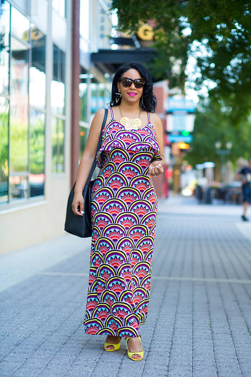 What I'm Wearing: Target Xhilaration High Low Hanky Maxi Dress, Kenneth Jay Lane Butterfly Necklace, Zara Leather High-Heeled Cage Sandals with Bow, House of Harlow 1960 Women's Chelsea Sunglasses, Forever 21 Bucket bag, H&M Triangle Earrings