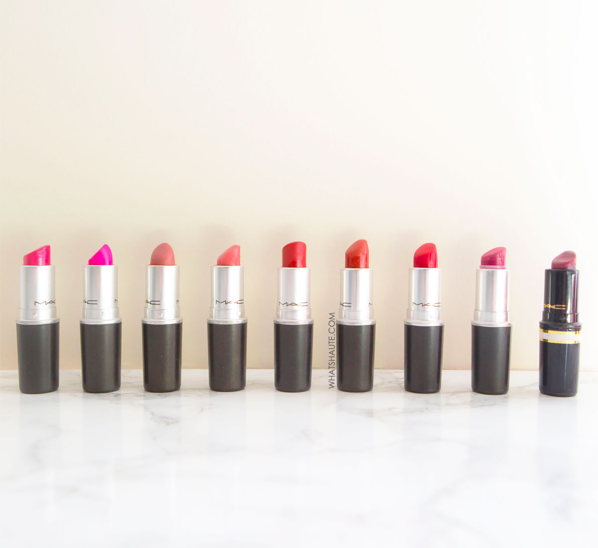 9 Must-have MAC lipsticks: Heaux, RiRi Woo, Lickable, Fanfare, Crème in Your Coffee, Chili, Candy Yum Yum, Dark Deed, Russian Red