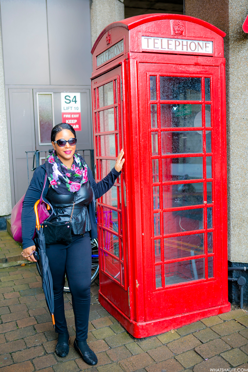 48 Hours in London, Me at a red telephone booth - London, England, What's Haute in the World