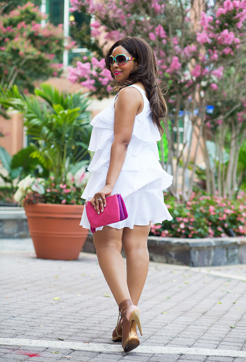 "Last Days of Summer - What I'm Wearing: S.L. Fashion Tiered Ruffle White Dress, Charles by Charles David ""Canto"" Lace-Up Sandals, Wink & Winn Crossbody Bag, Matthew Williamson for H&M Sunglasses, Giambattista Valli For MAC Lipstick in Tats, essie® Nail Color - Marshmallow"