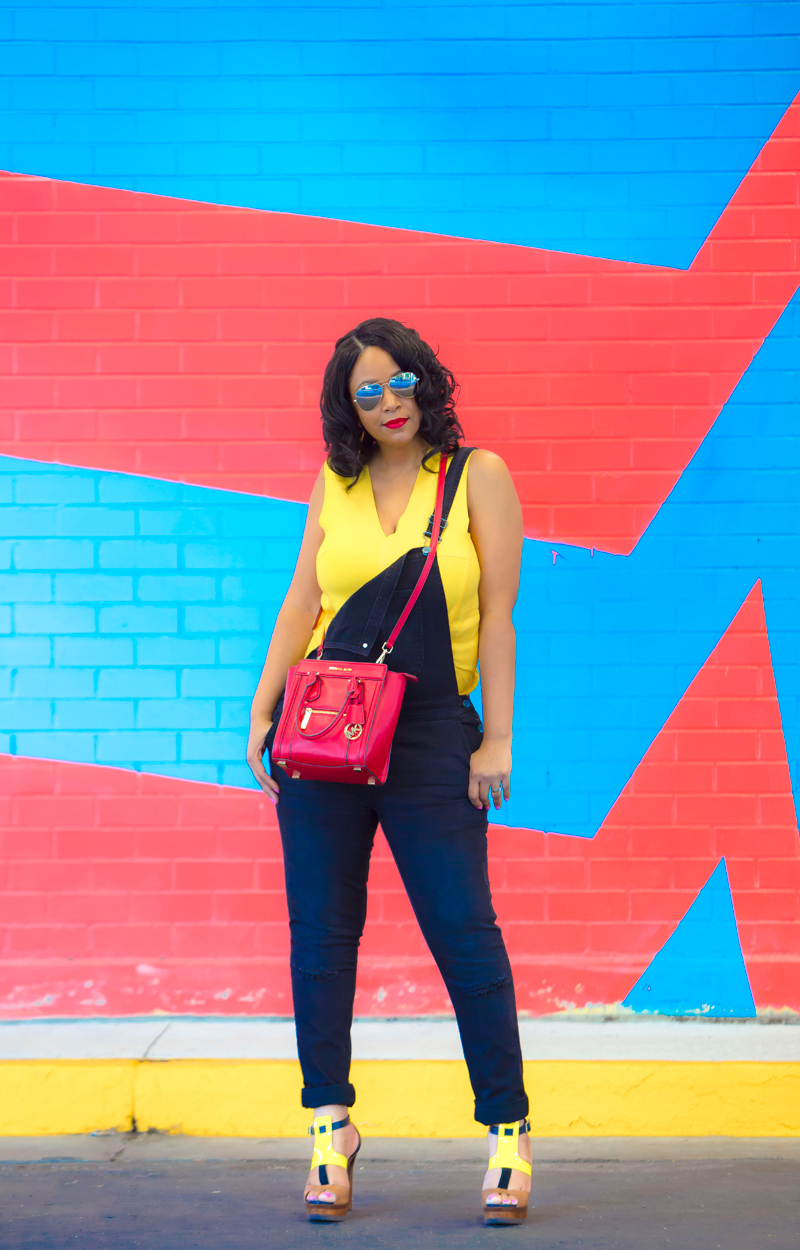 12 Ways to Wear Denim - What I'm Wearing: AQS Aquaswiss Unisex James Mirrored Aviator Sunglasses, Zara yellow top, Mossimo Denim Overalls, MICHAEL Michael Kors Colette Zip Medium Messenger Bag, Jimmy Choo Samos Wood Sandals