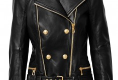 Balmain x H&M leather moto jacket