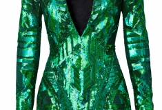 Balmain x H&M metallic green dress