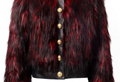 Balmain x H&M red faux fur coat