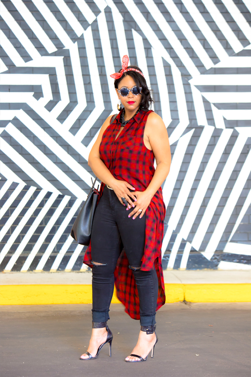 What I'm Wearing: 12 Ways to Wear Denim: Ripped Knee denim - MAC RiRi Woo lipstick, Bandana, Mossimo Supply Co. Sleeveless Plaid Duster, Ripped Knee denim , GUESS Odeum Ankle Strap Sandals, Black and White Print Sunglasses, Drawstring bucket bag, Matte Black Link Necklace