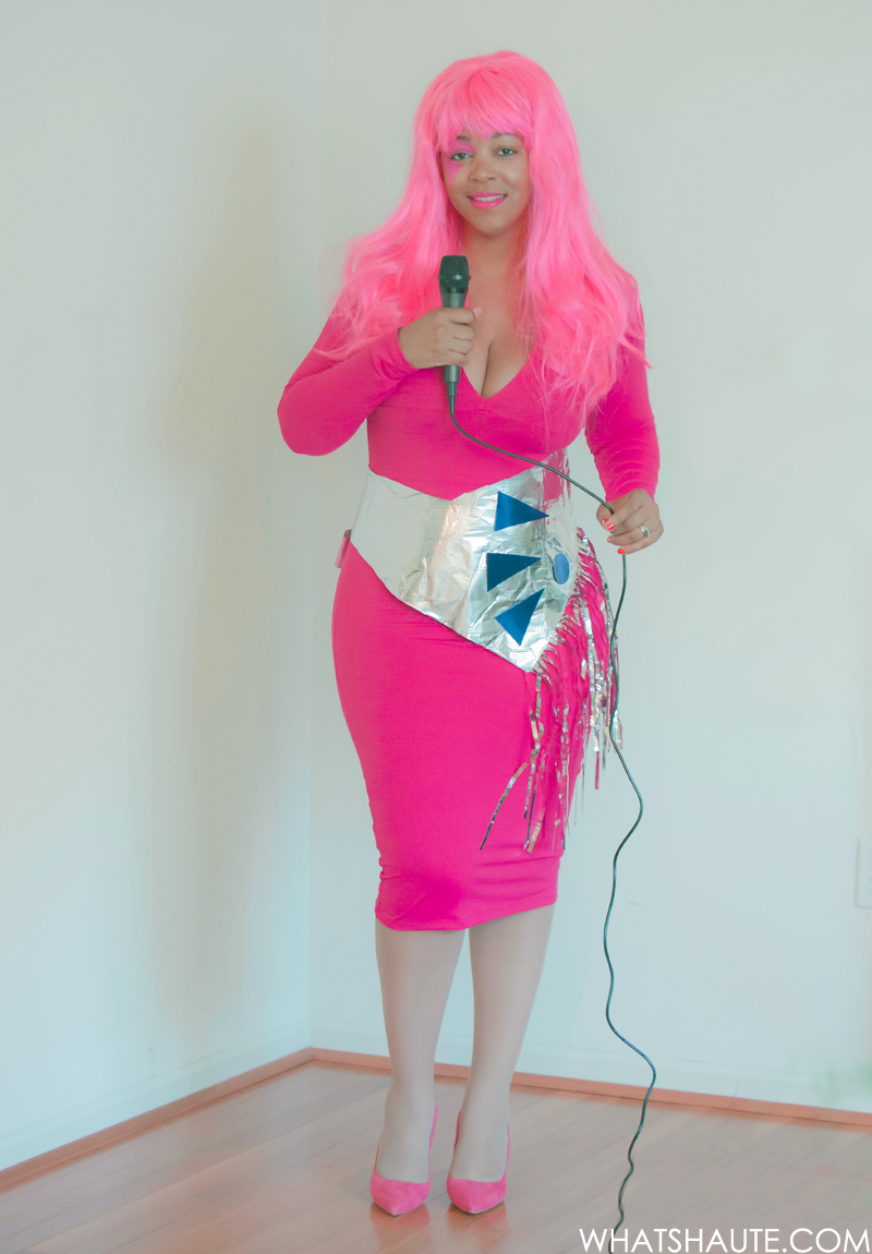 Jem: Leith Long Sleeve V-Neck Body-Con Dress, Target Women's Electric Diva Pink Wig, Topshop 'Golden' Pointy Toe Suede Pump, MAC Limited Edition Giambattista Valli Collection Lipstick - Tats, Pink Face Paint, Silver fringe belt, Microphone, DIY costume, Hot pink