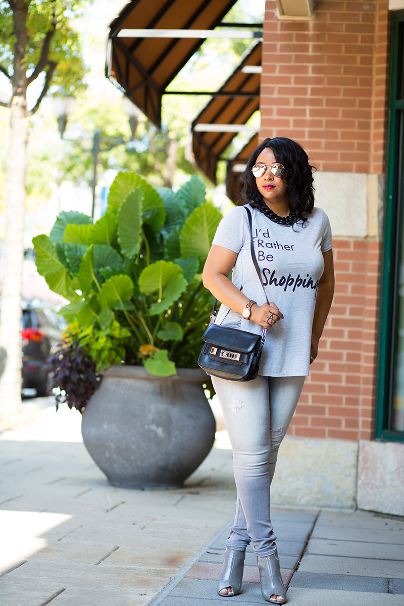 "12 Ways to Wear Denim: Jean Leggings, Jeggings, H&M Black Chunky Chain Necklace, ""I'd Rather Be Shopping"" Graphic Tee (via TJ Maxx), Proenza Schouler PS11 Mini Shoulder Bag, Express High Rise Hip Zip Jean Legging, 7 for All Mankind Neely Peep Toe Bootie, Fall denim, 2015 Fall fashion"